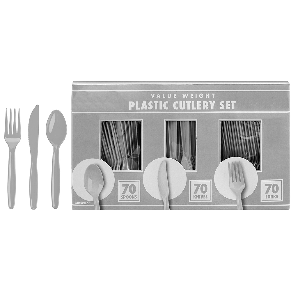 Big Party Pack Silver Value Plastic Cutlery Set 210ct Image #1