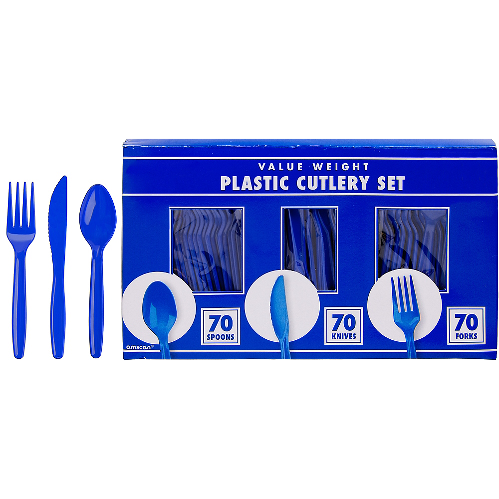 Big Party Pack Royal Blue Plastic Cutlery Set 210ct Image #1