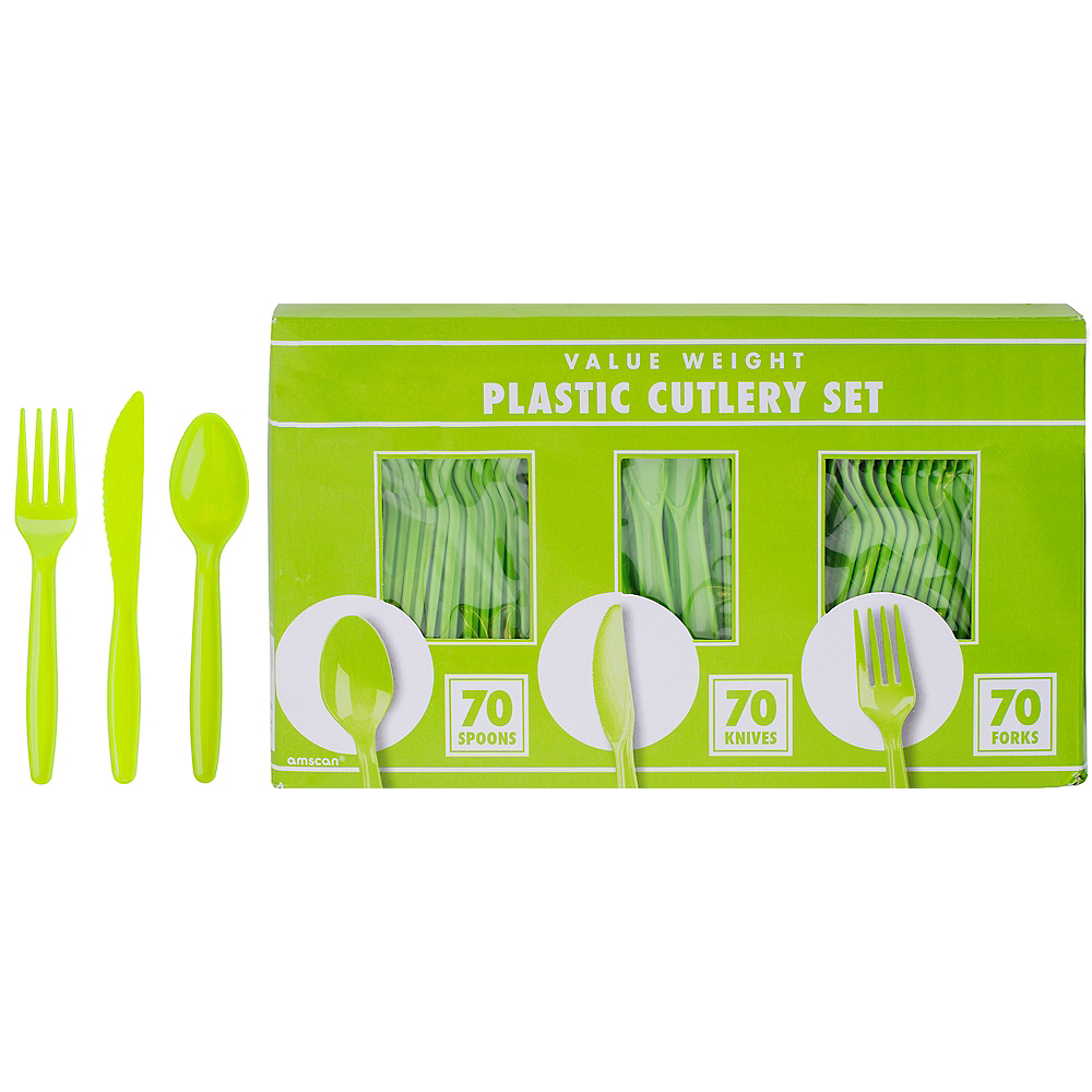 Big Party Pack Kiwi Green Plastic Cutlery Set 210ct Image #1