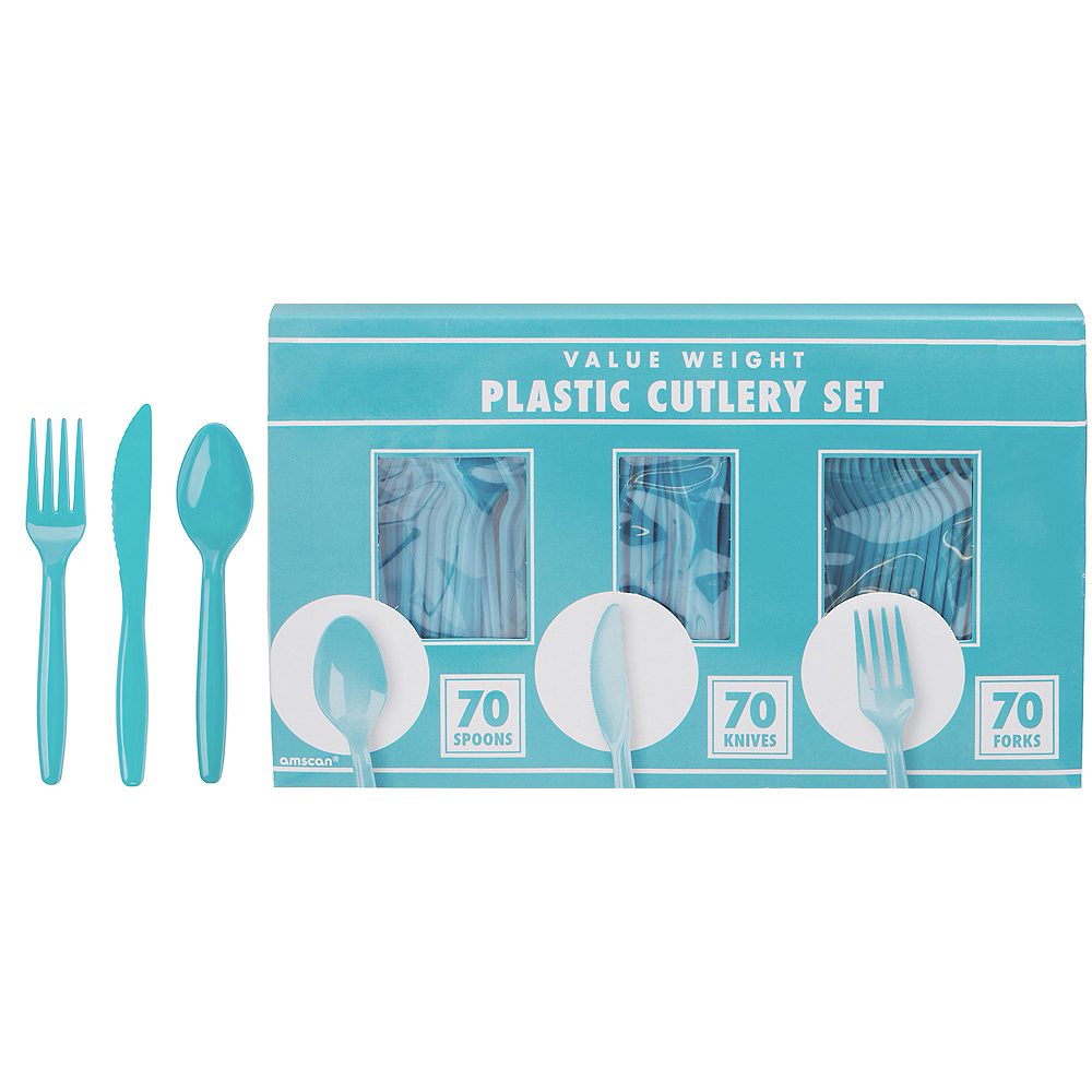 Nav Item for Big Party Pack Caribbean Blue Plastic Cutlery Set 210ct Image #1