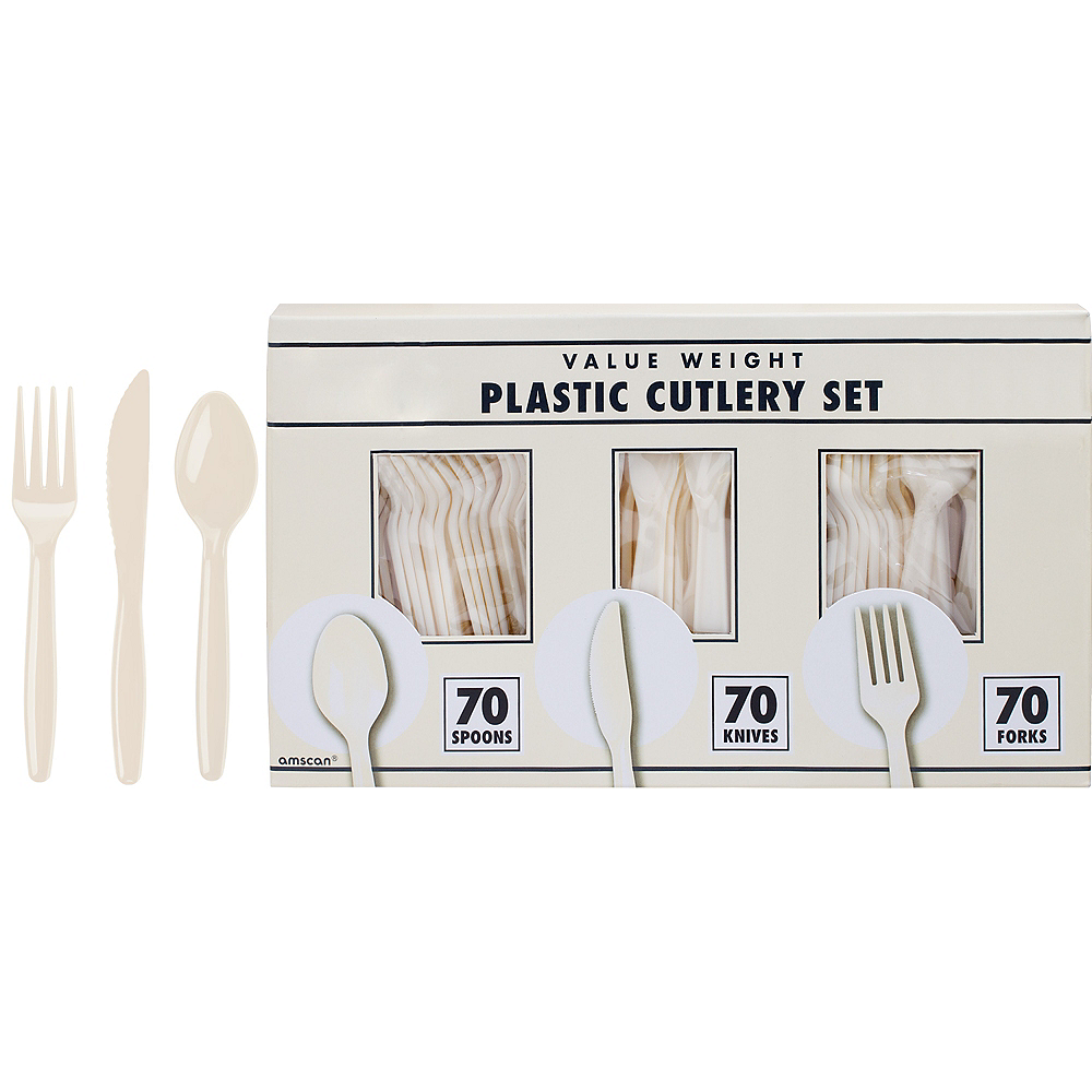 Big Party Pack Vanilla Cream Plastic Cutlery Set 210ct Image #1