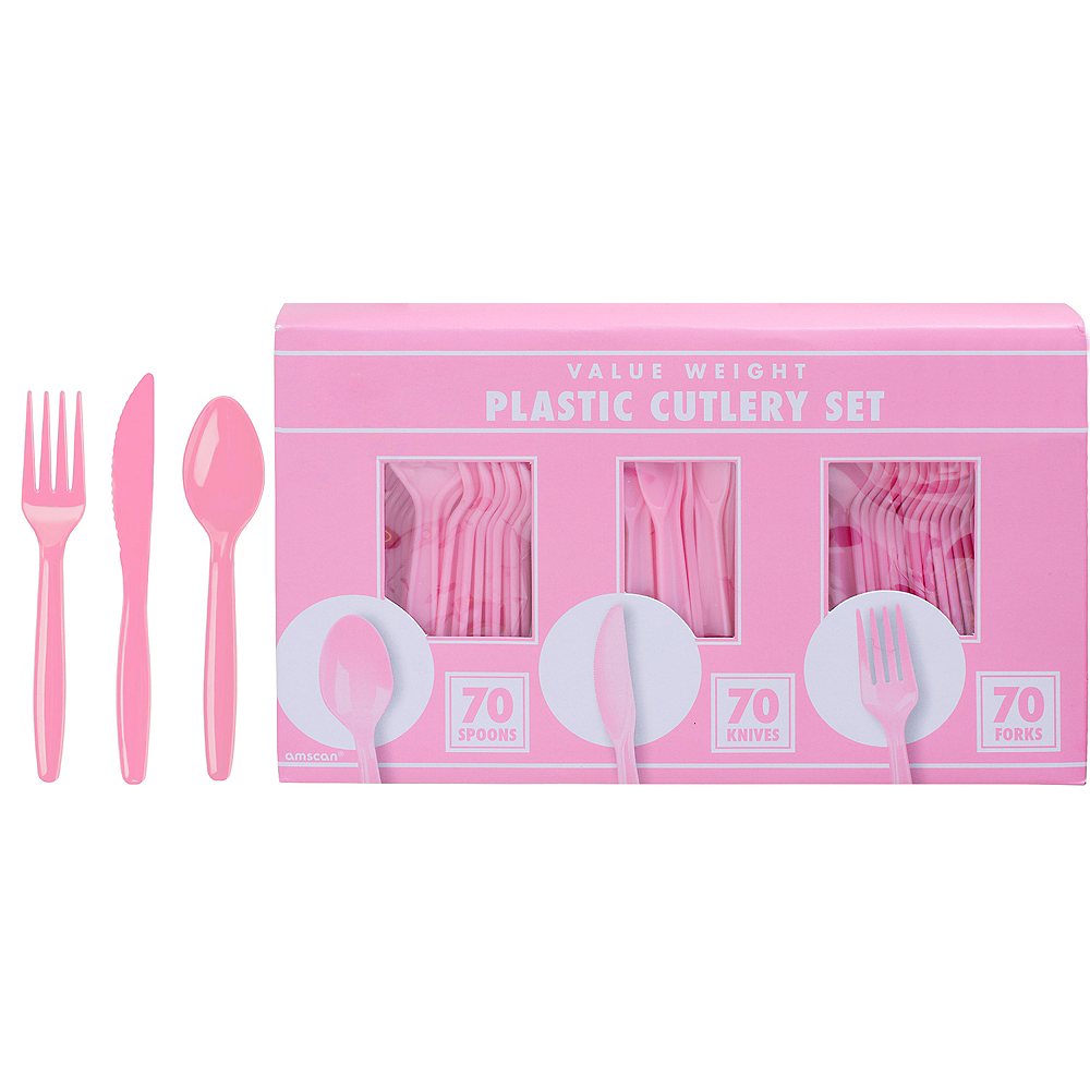 Big Party Pack Pink Value Plastic Cutlery Set 210ct Image #1