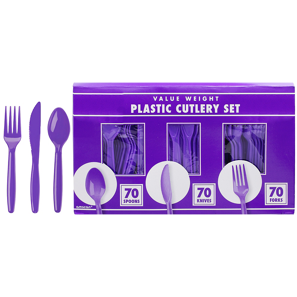 Big Party Pack Purple Plastic Cutlery Set 210ct Image #1