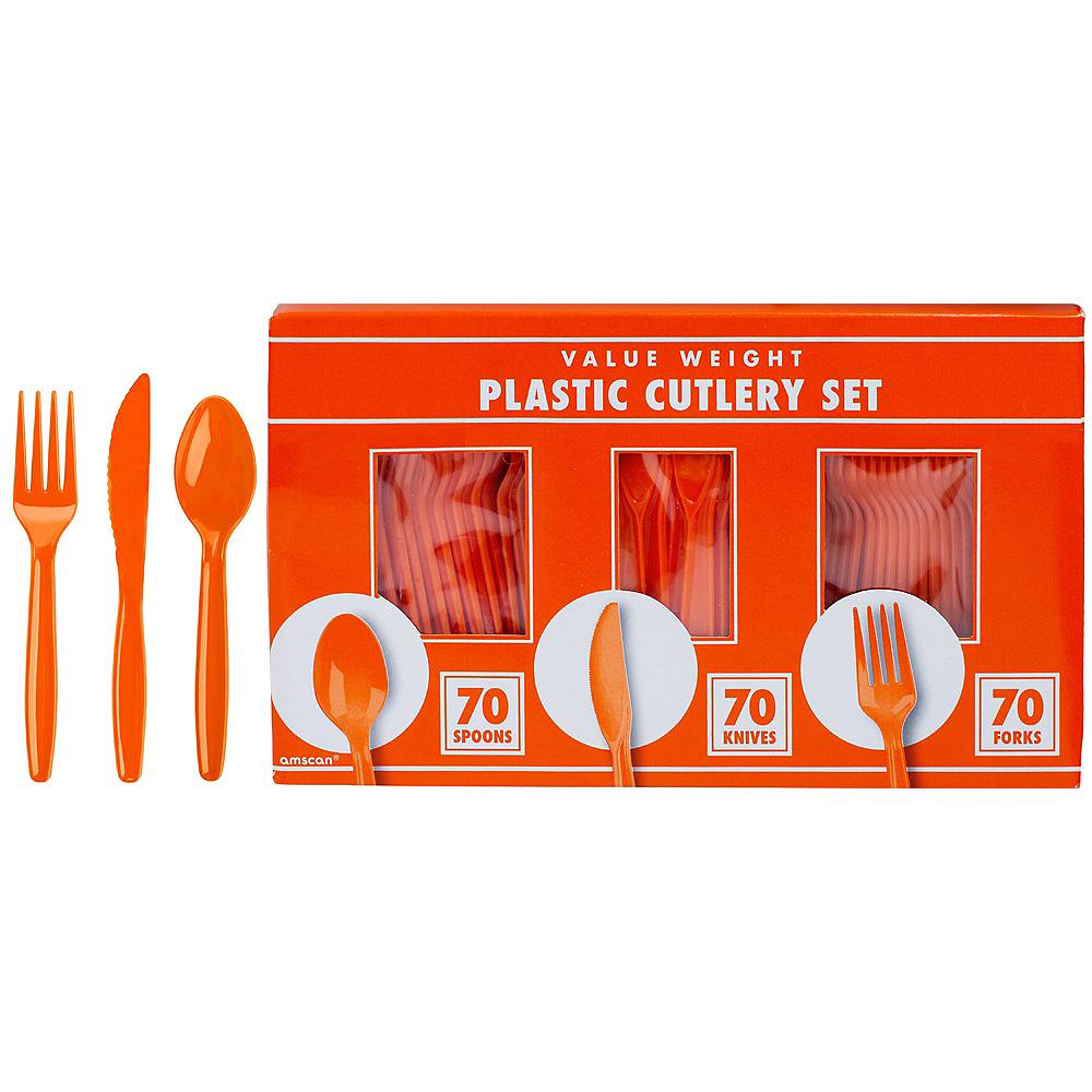 Big Party Pack Orange Plastic Cutlery Set 210ct Image #1