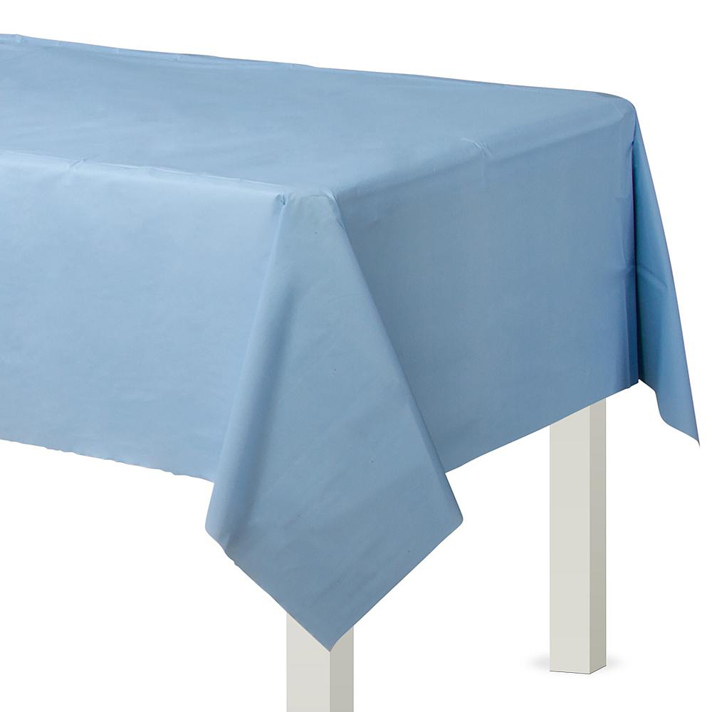 Pastel Blue Plastic Table Cover Image #1