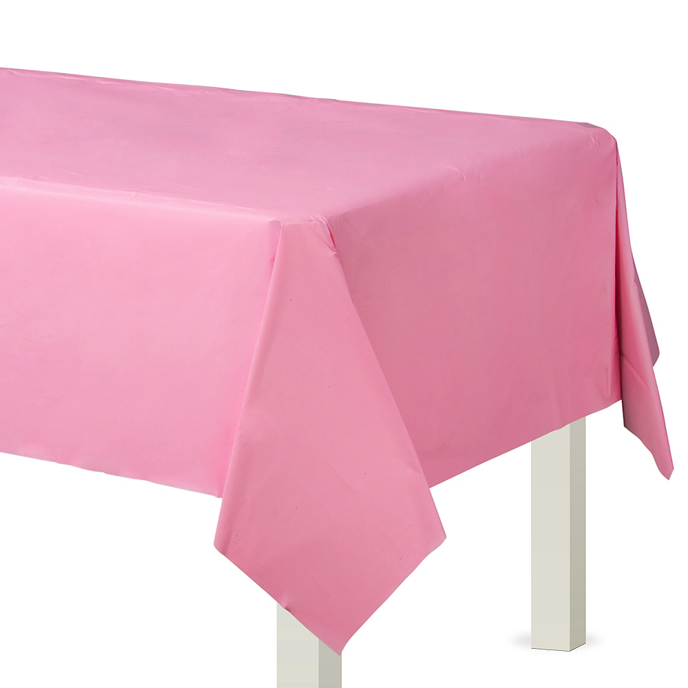Pink Plastic Table Cover Image #1