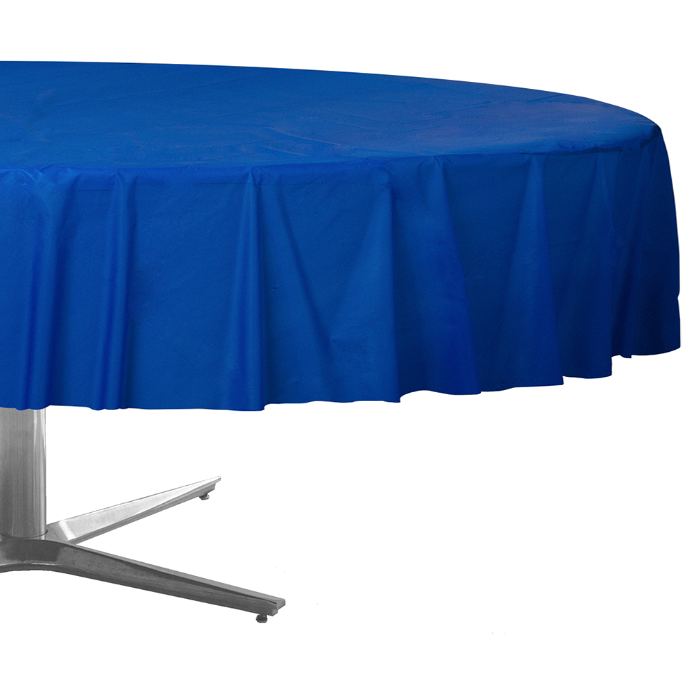 Royal Blue Plastic Round Table Cover Image 1