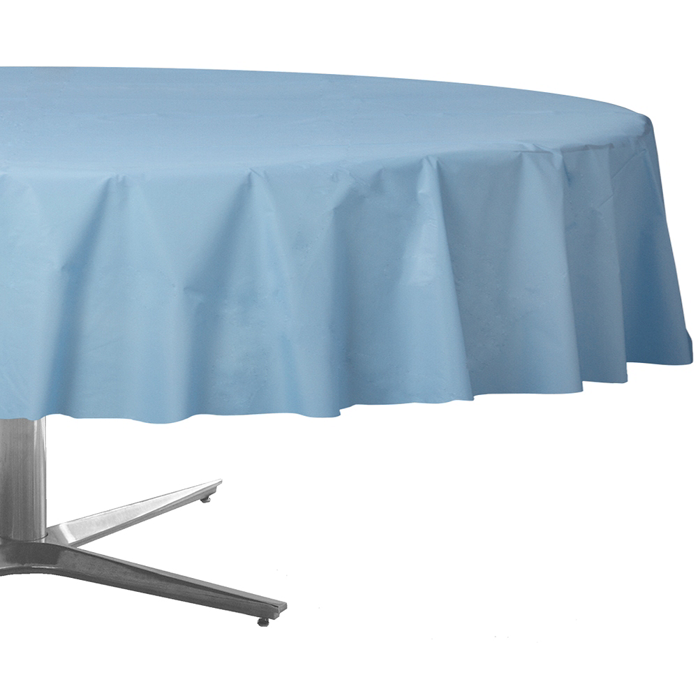 Pastel Blue Plastic Round Table Cover Image #1