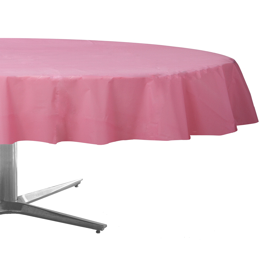 Pink Plastic Round Table Cover Image #1