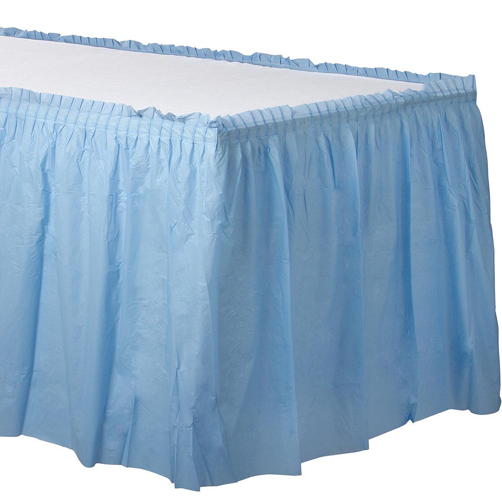 Pastel Blue Plastic Table Skirt Image #1