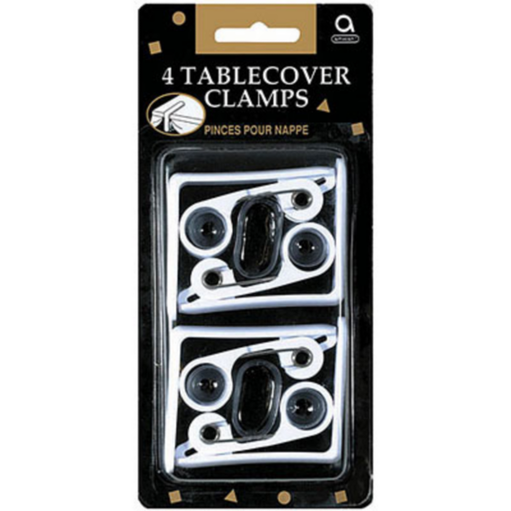 White Table Cover Clamps 4ct Image #1