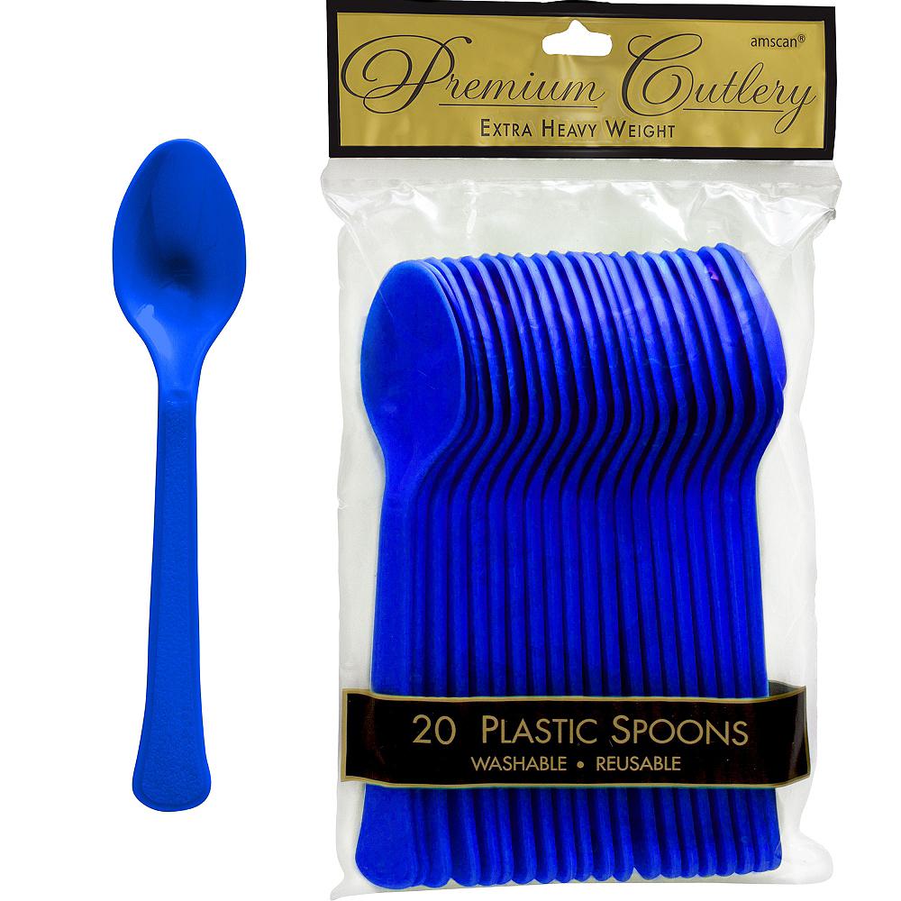 Royal Blue Premium Plastic Spoons 20ct Image #1
