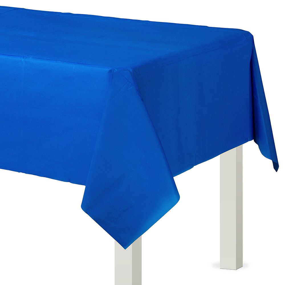 Royal Blue Plastic Table Cover Image #1