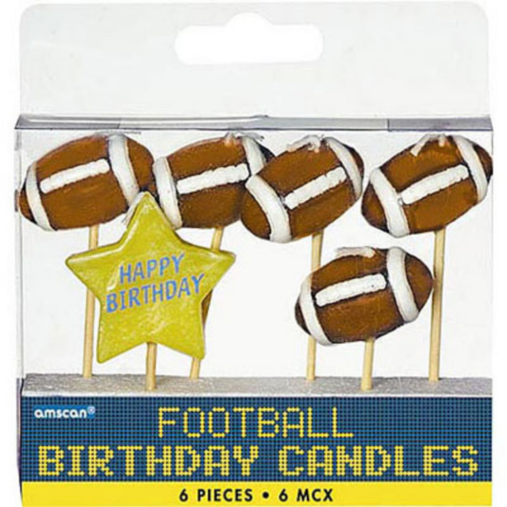 Football Birthday Candle Picks 6ct Image #1