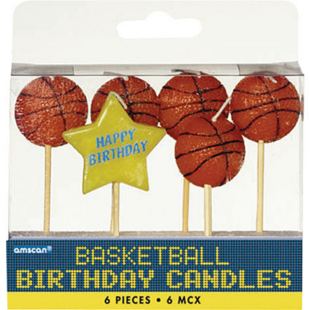 Basketball Birthday Toothpick Candles 6ct Image #1