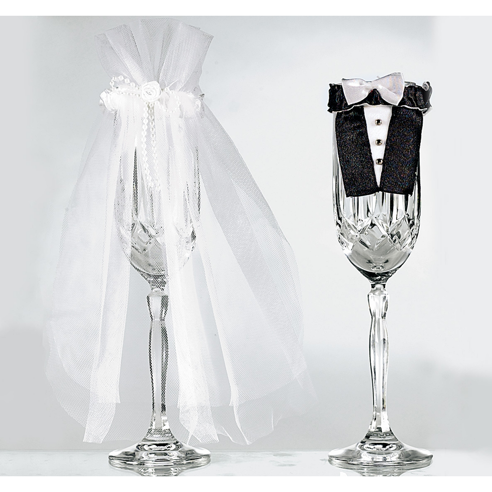 Bride & Groom Wedding Champagne Flute Covers 2pc Image #1