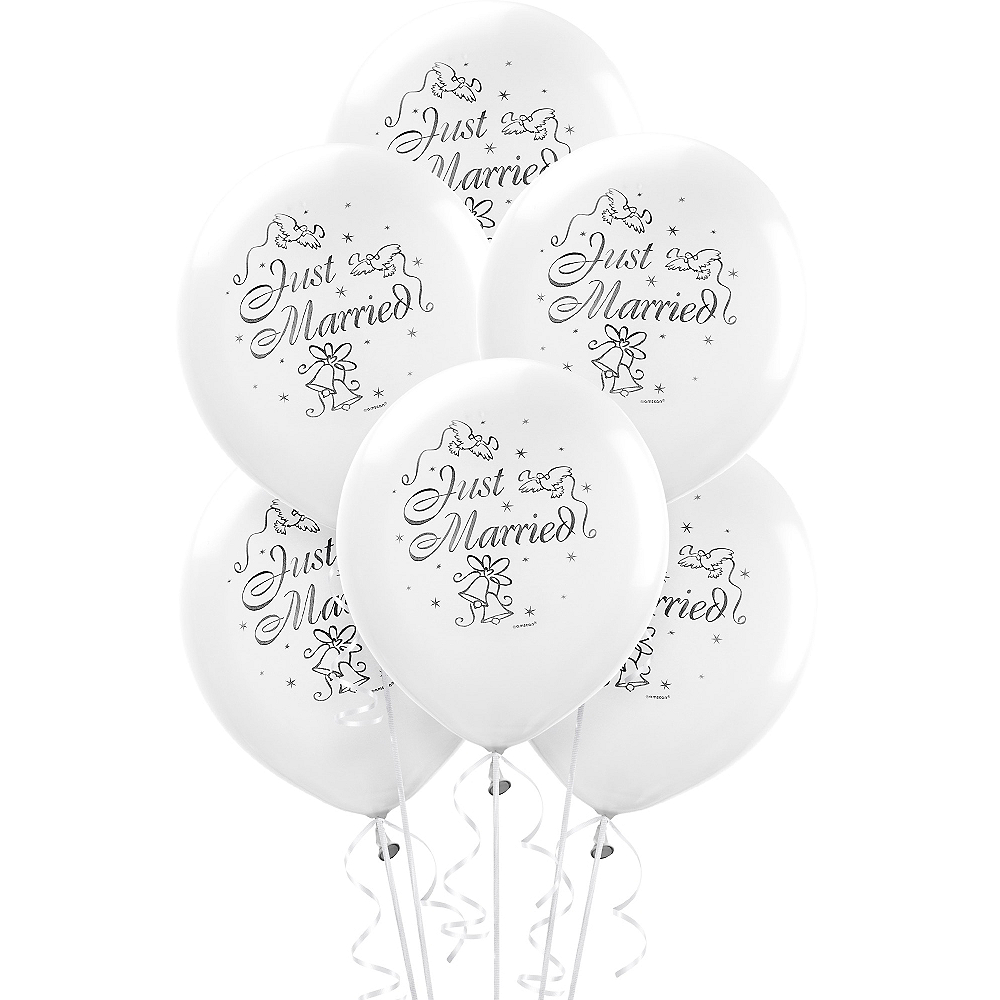 Wedding Balloons 15ct - Just Married Image #1