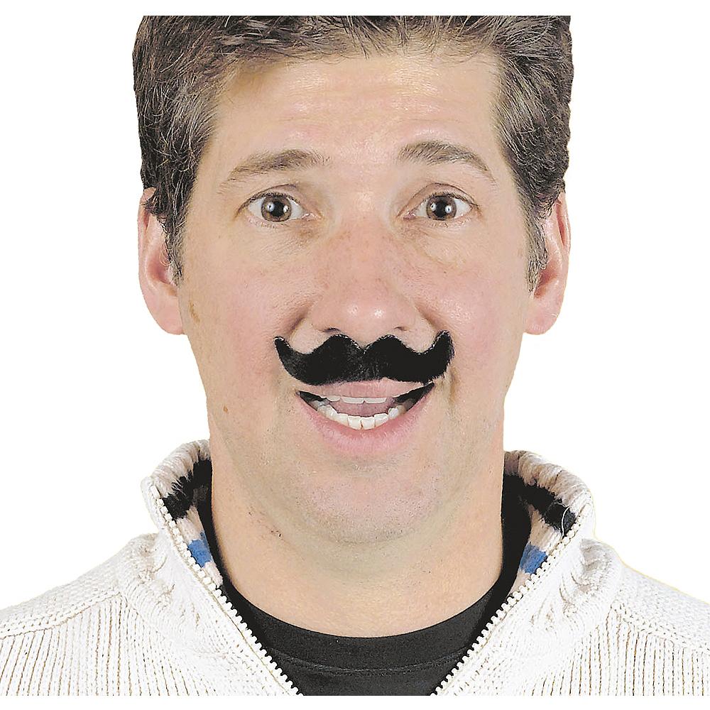 Black Handlebar Moustaches 6ct Image #2