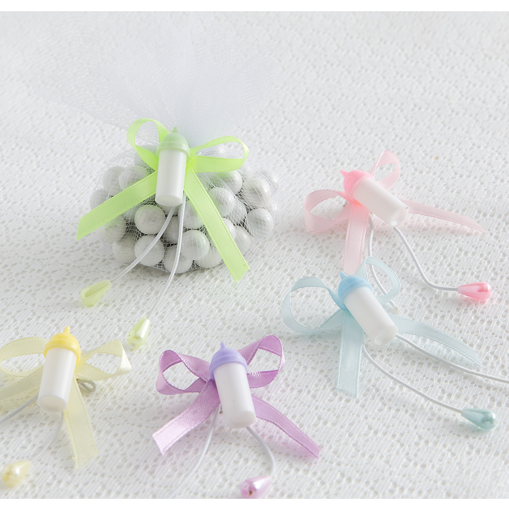 Multicolor Bottle Baby Shower Favor Ties 6ct Image #1