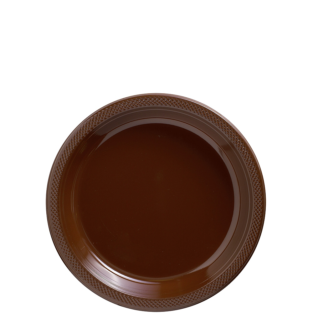 Nav Item for Chocolate Brown Plastic Dessert Plates 20ct Image #1