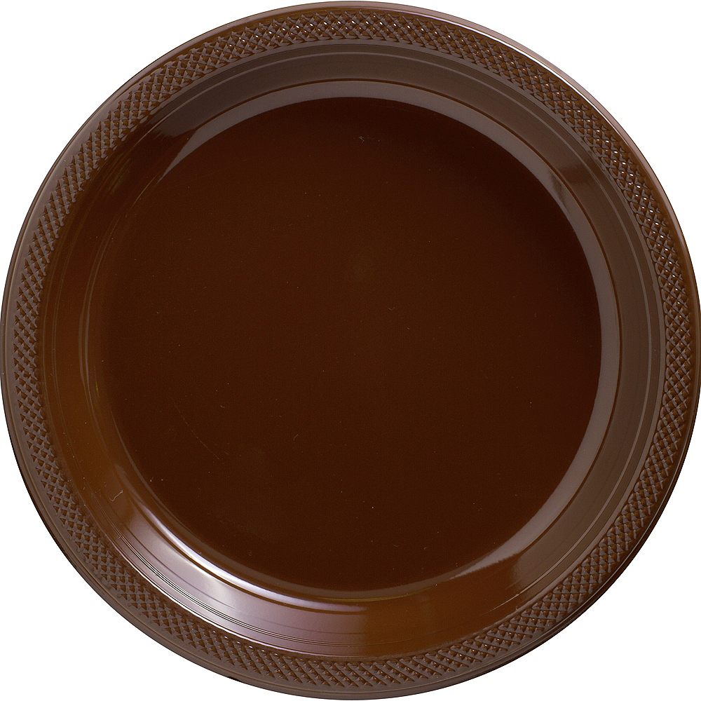 Chocolate Brown Plastic Dinner Plates 20ct Image #1