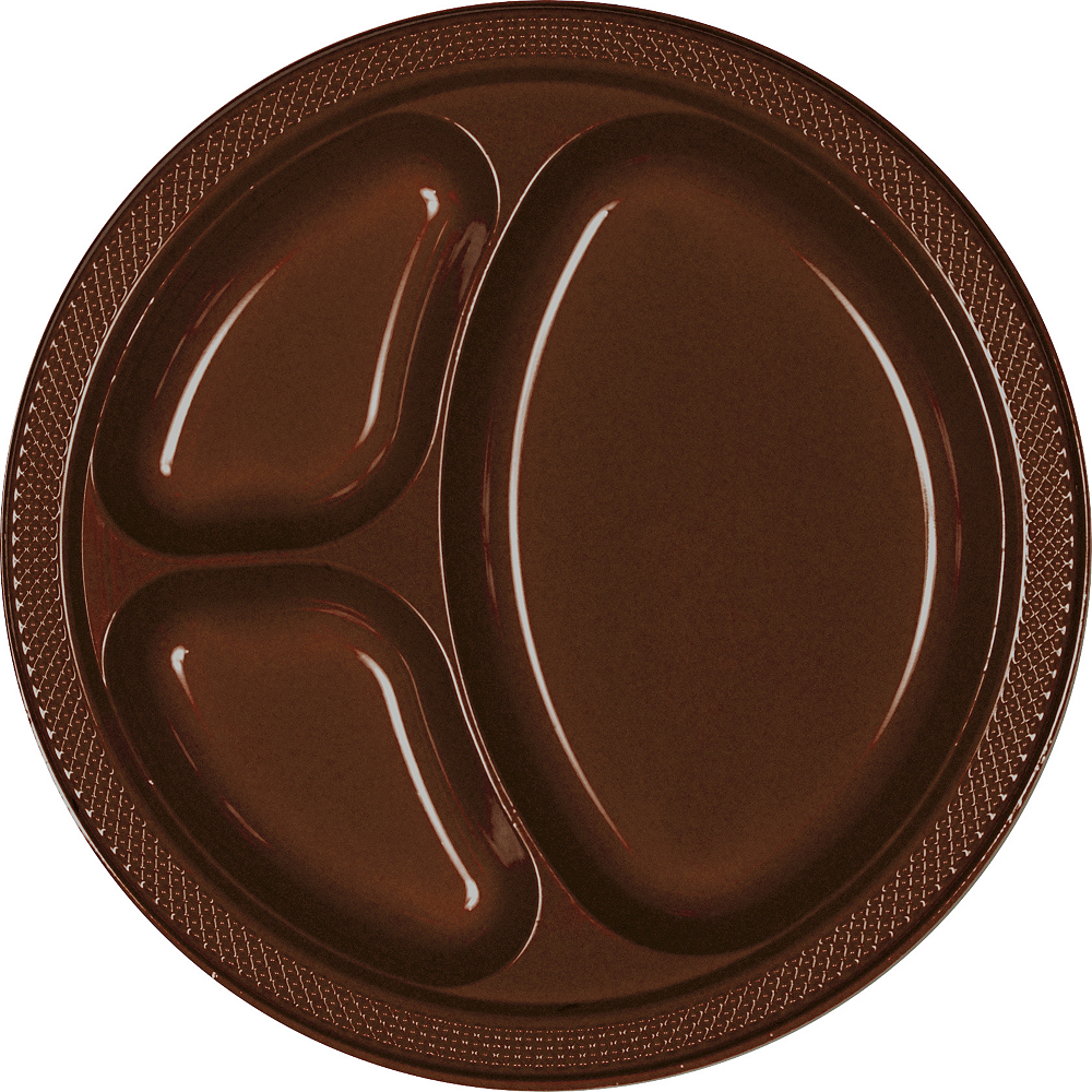 Chocolate Brown Plastic Divided Dinner Plates 20ct Party
