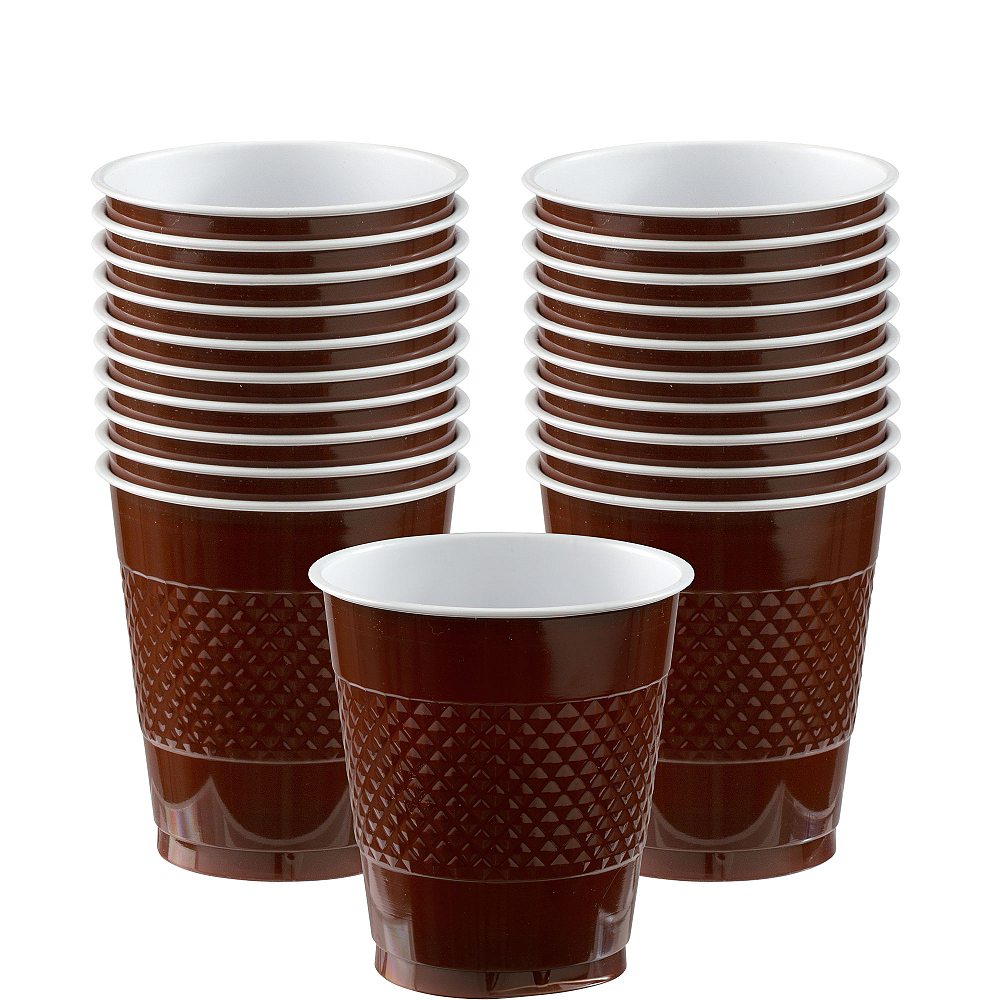 Chocolate Brown Plastic Cups 20ct Image #1
