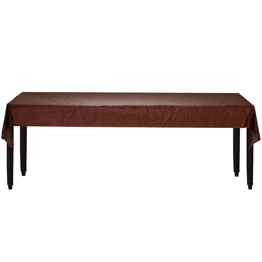 Chocolate Brown Plastic Table Cover Roll Image #2