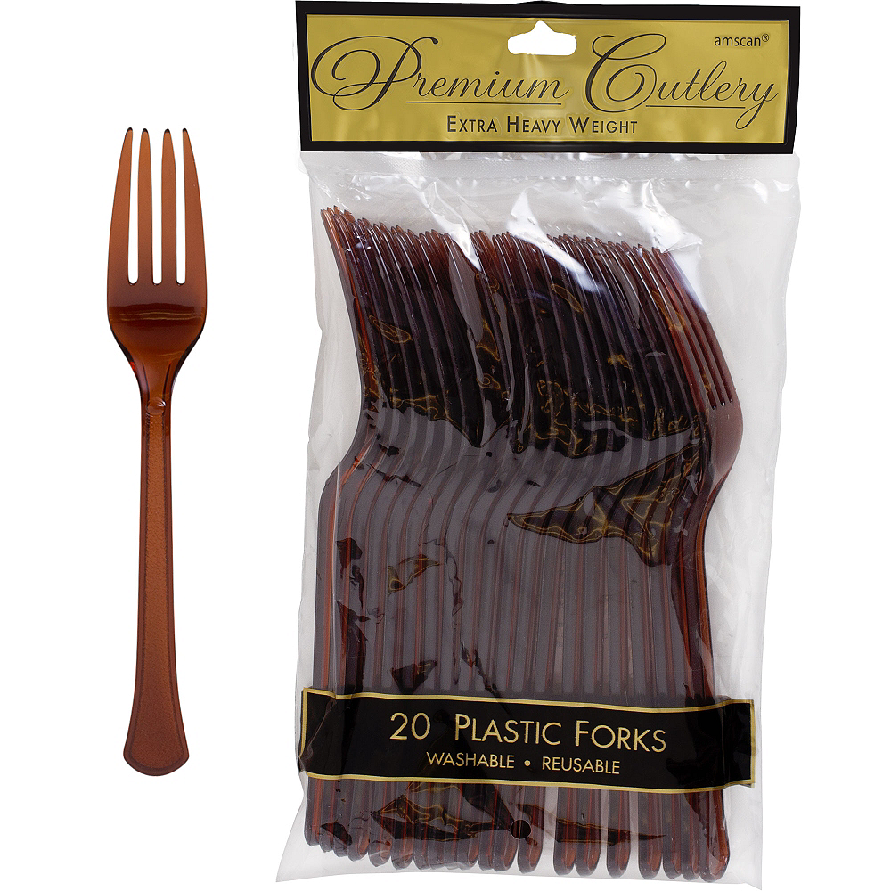 Chocolate Brown Premium Plastic Forks 20ct Image #1