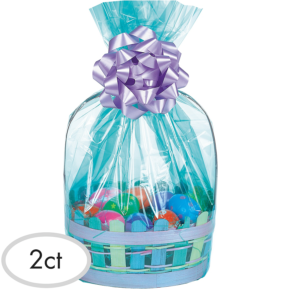 Caribbean Blue Plastic Gift Basket Bags 2ct Image #1