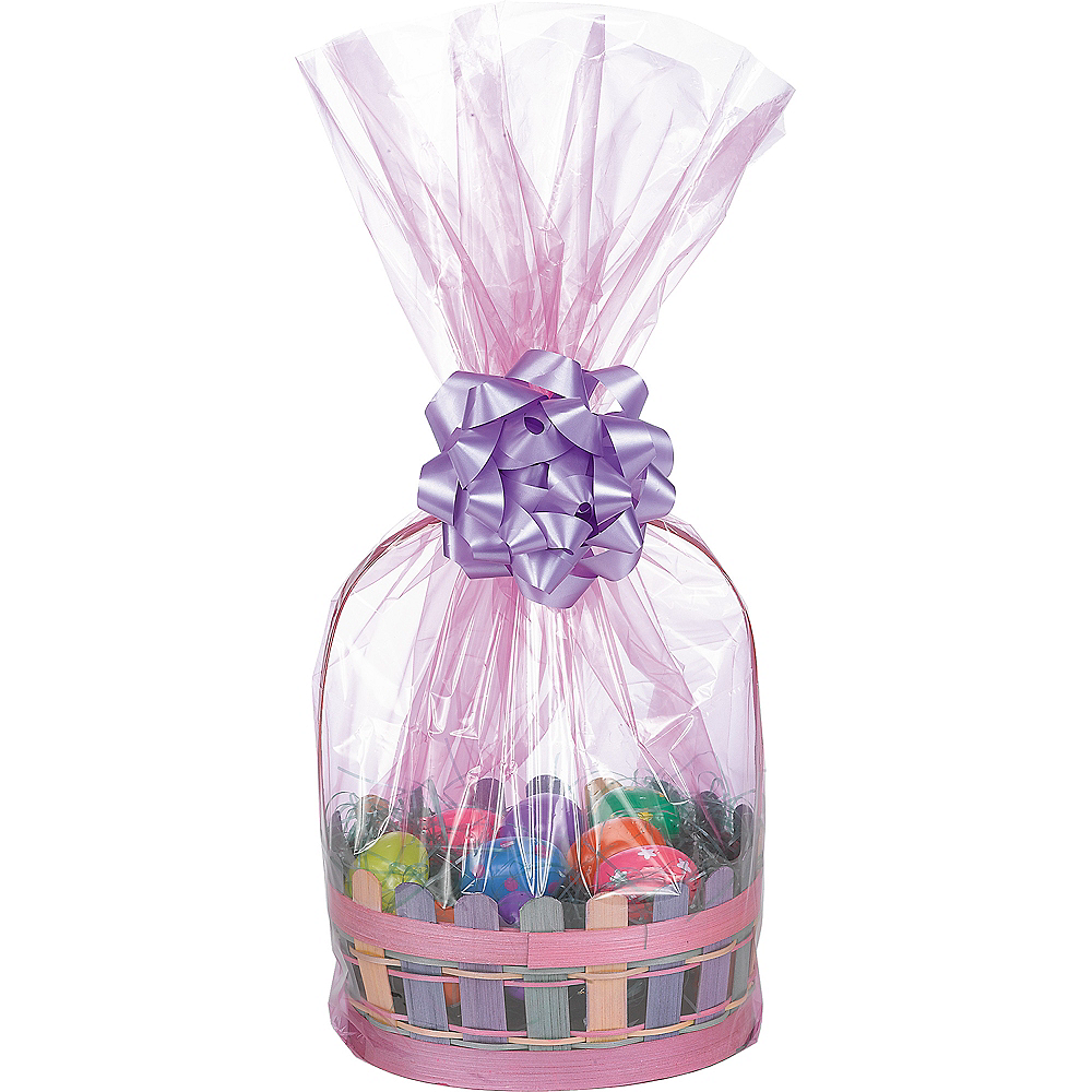 Pink Plastic Gift Basket Bags 2ct Image #1