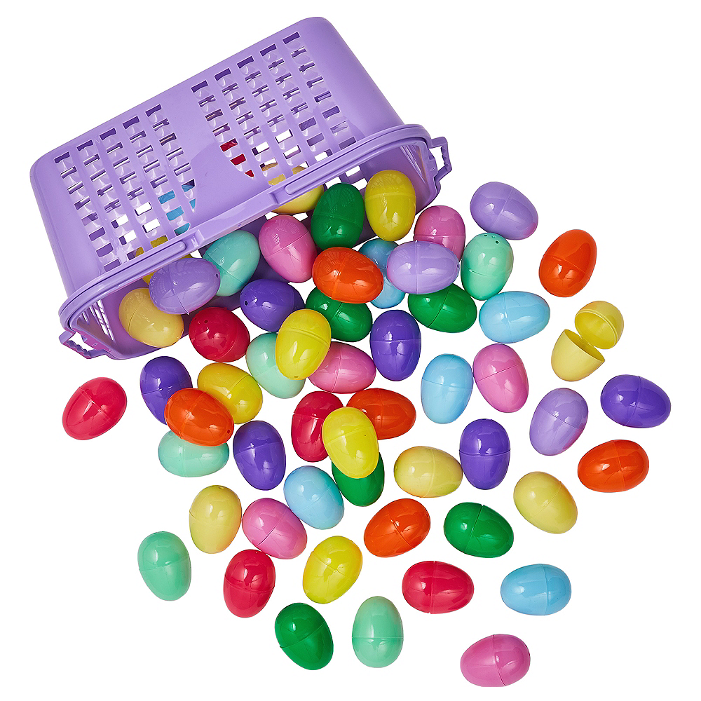 Fillable Easter Eggs in Basket 60ct Image #1