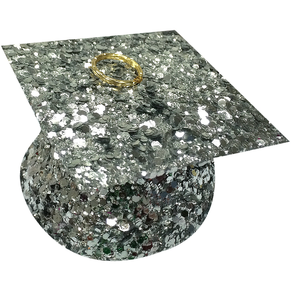 Silver Glitter Graduation Balloon Weight Image #1