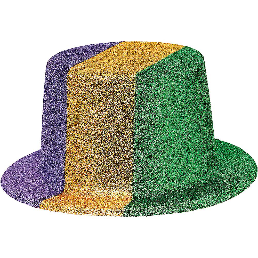 Glitter Mardi Gras Top Hat Image #1