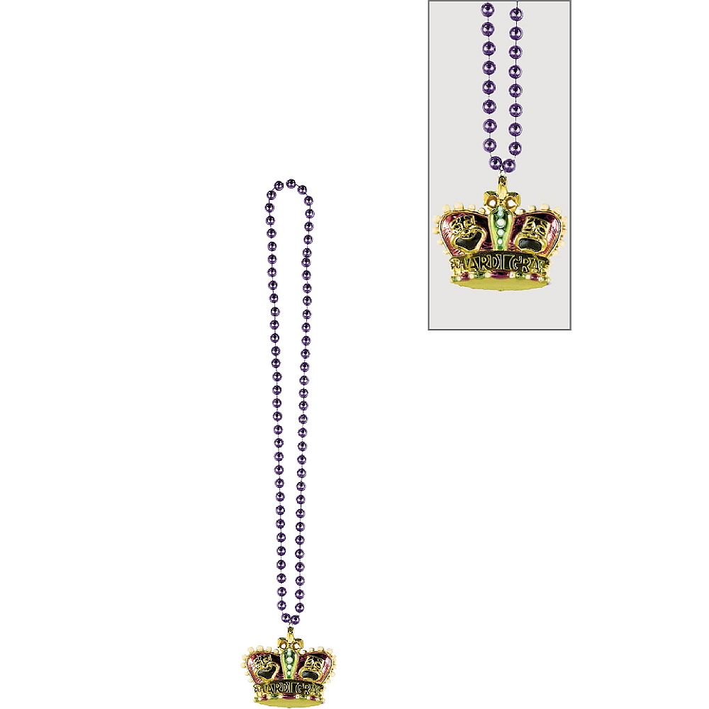 Gold Crown Mardi Gras Pendant Bead Necklace Image #1