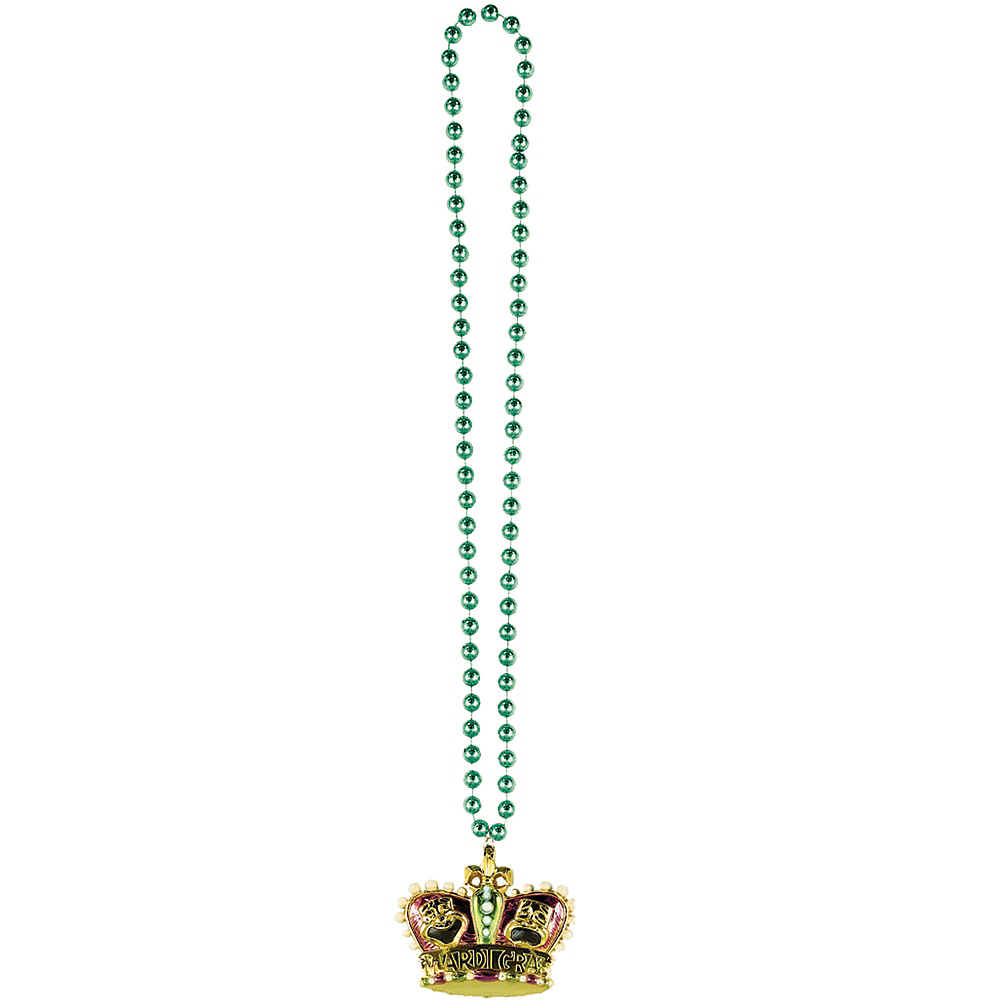 Gold Crown Mardi Gras Pendant Bead Necklace Image #2