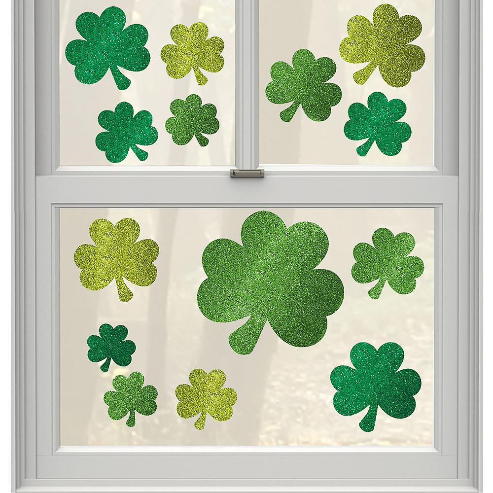 Glitter St. Patrick's Day Cling Decals 14ct Image #1