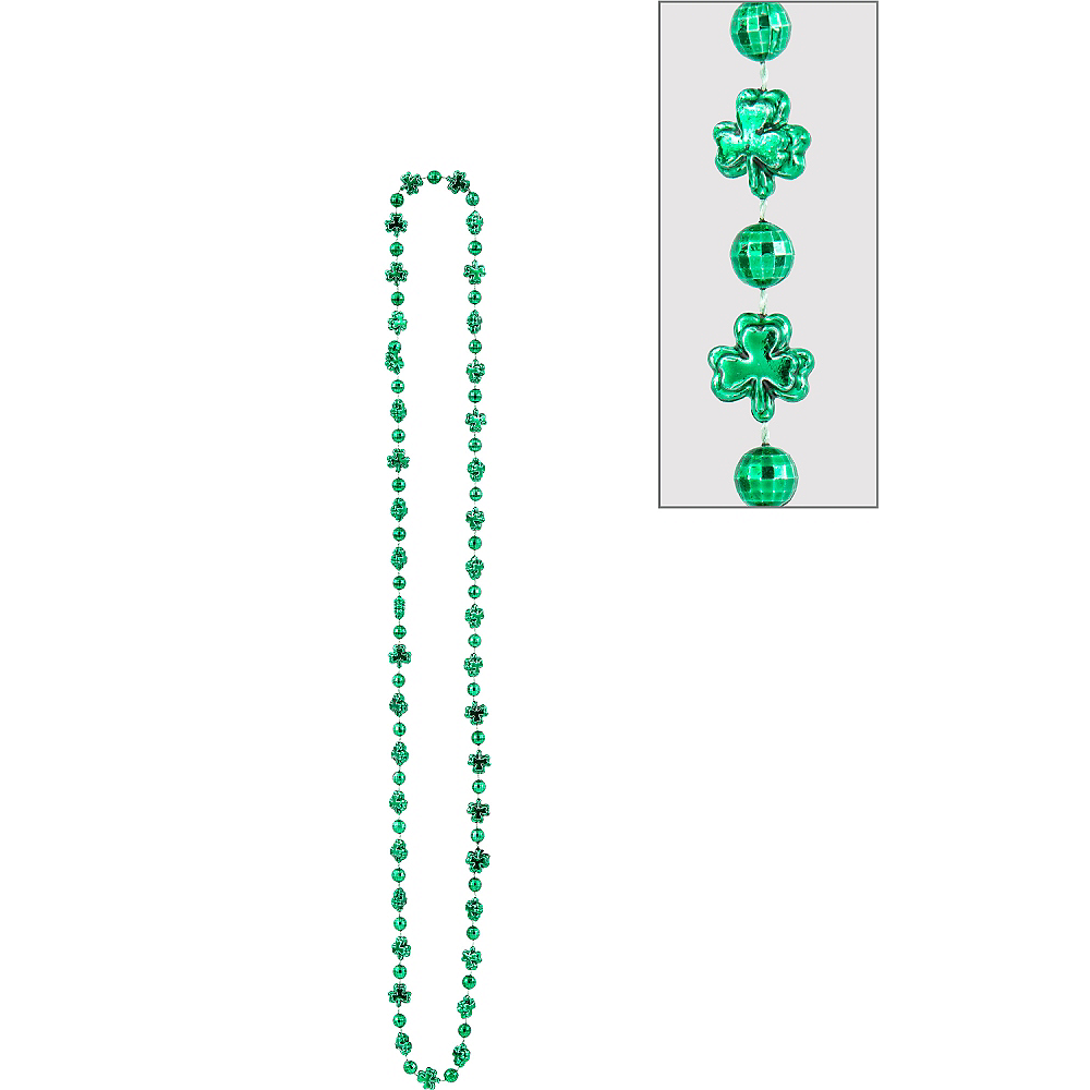 St. Patrick's Day Shamrock Bead Necklace Image #1