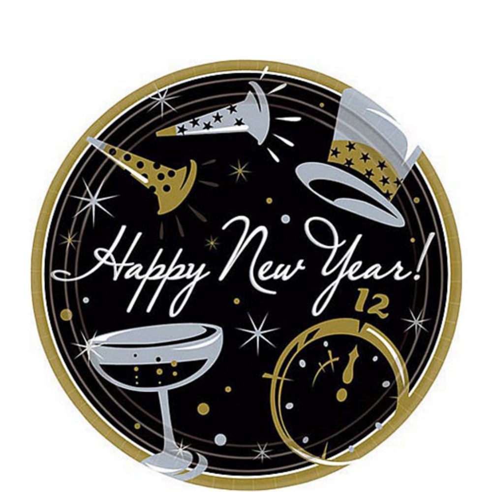 Black Tie New Year's Dessert Plates 50ct Image #1