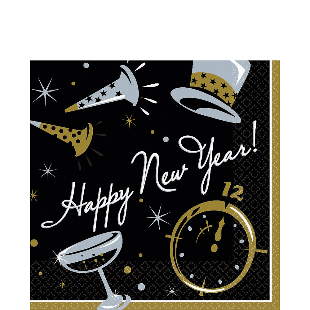 Black Tie New Year's Lunch Napkins 100ct Image #1
