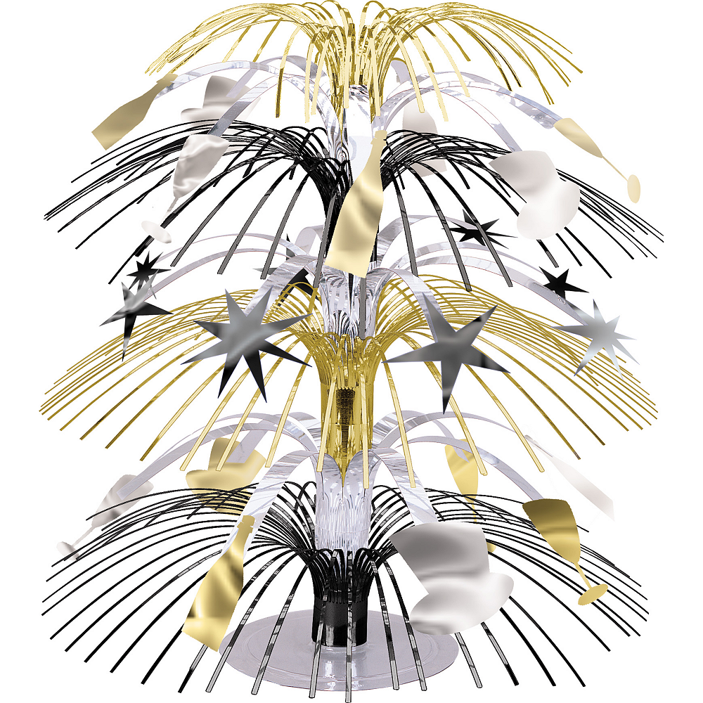 Black, Gold & Silver New Year's Cascade Centerpiece Image #1