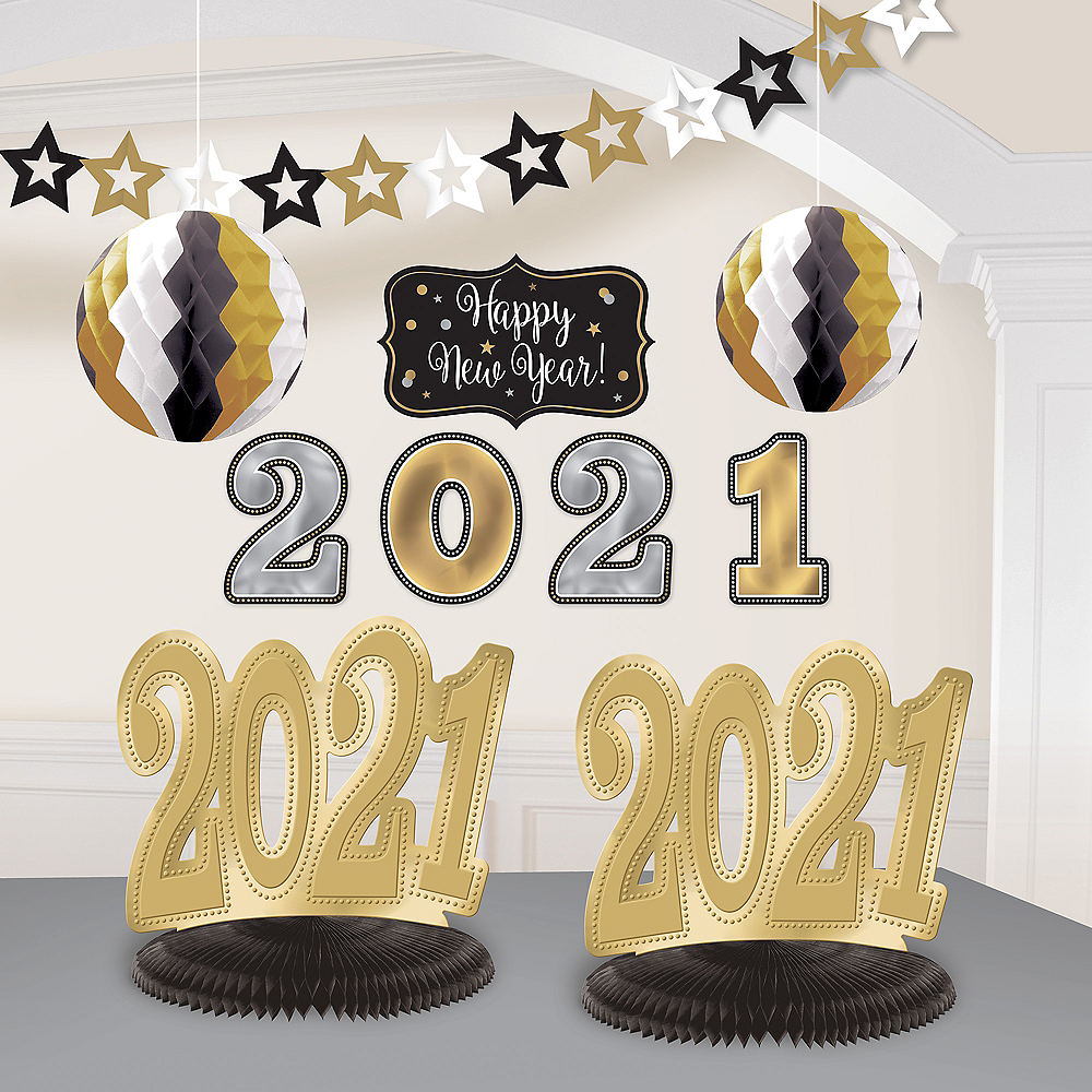Nav Item for Black, Gold & Silver 2020 New Year's Room Decorating Kit 10pc Image #1