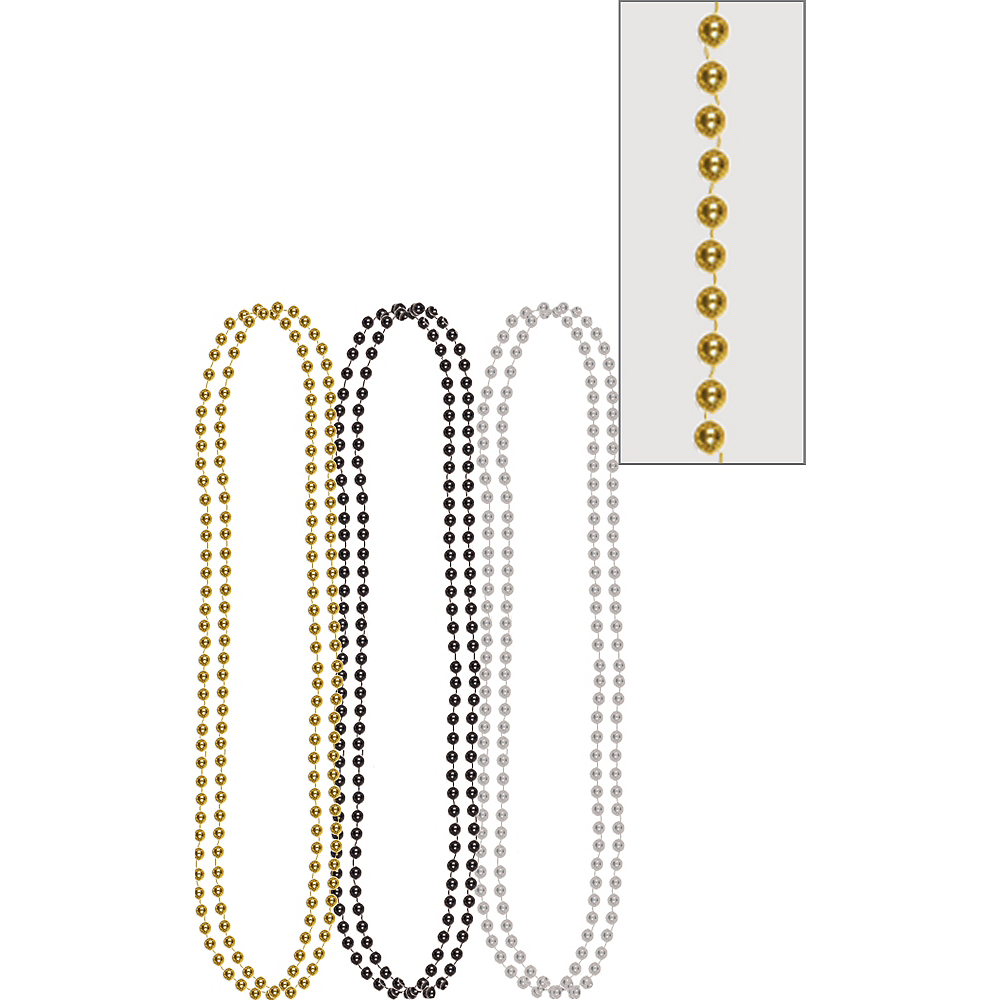 Metallic Black, Gold & Silver Bead Necklaces 6ct Image #1