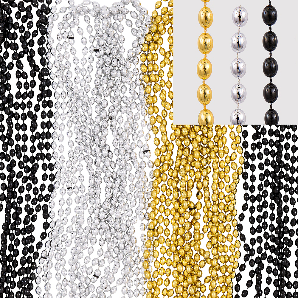 Black, Gold & Silver Bead Necklaces 50ct Image #1