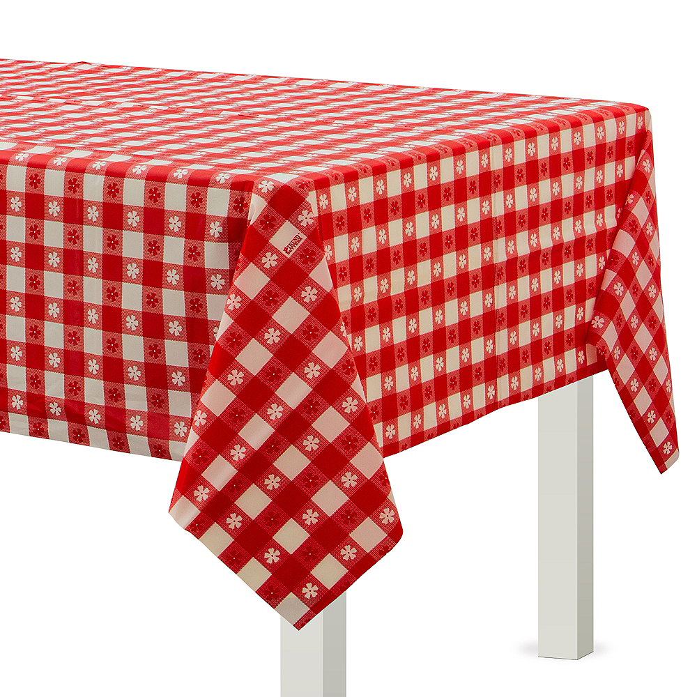 Red Gingham Plastic Table Cover Image 1