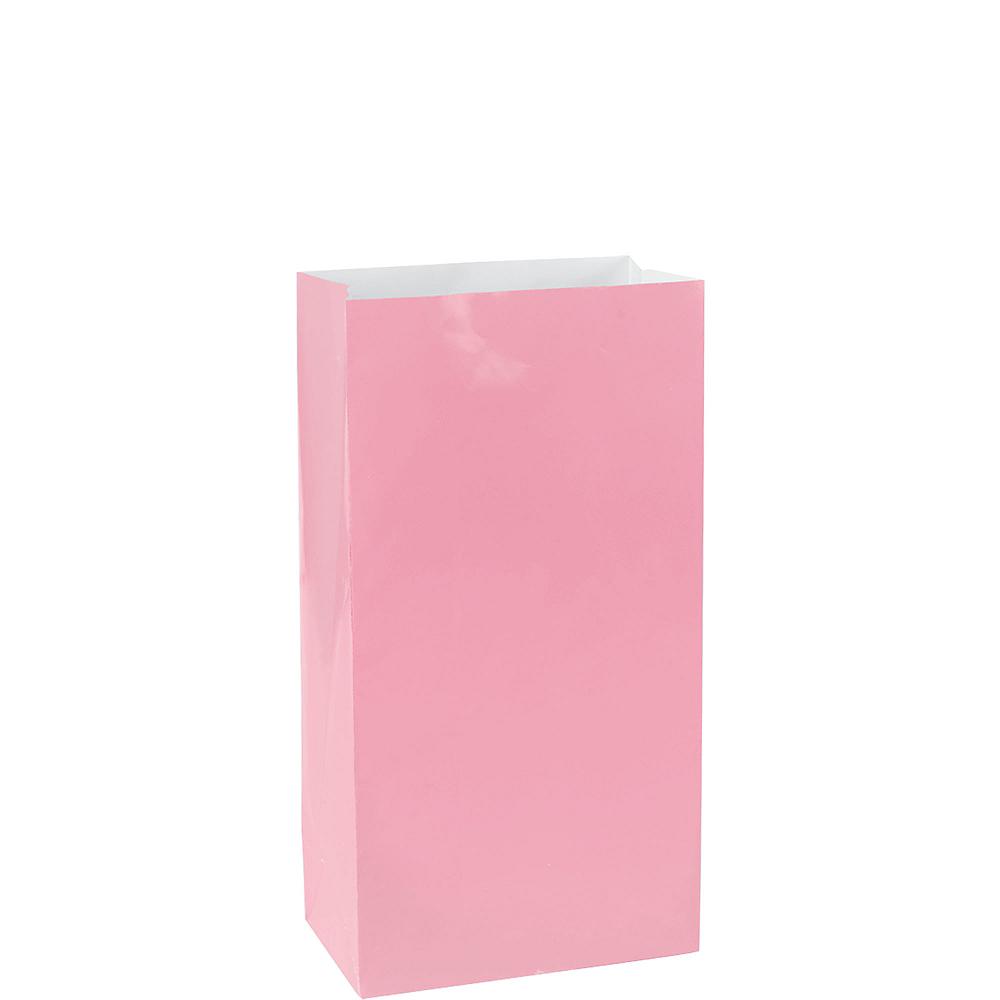 Medium Pink Paper Treat Bags 12ct Image #1