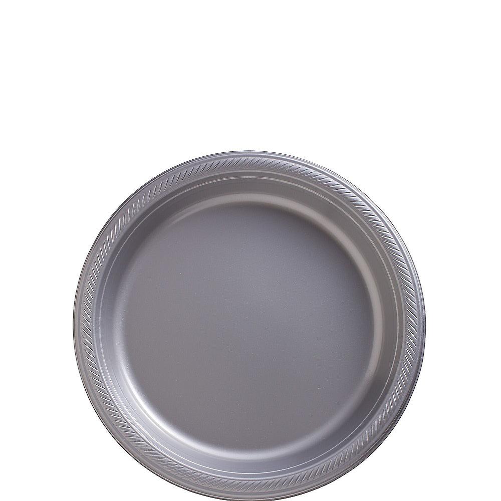 Silver Plastic Dessert Plates 20ct Image #1
