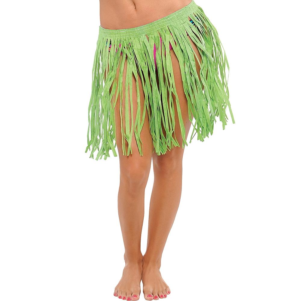 Adult Green Mini Hula Skirt Image #1