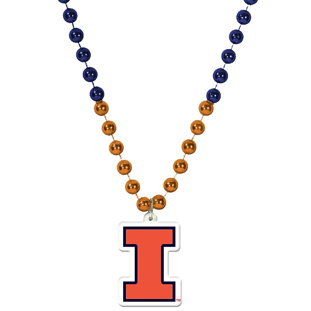 Illinois Fighting Illini Pendant Bead Necklace Image #1