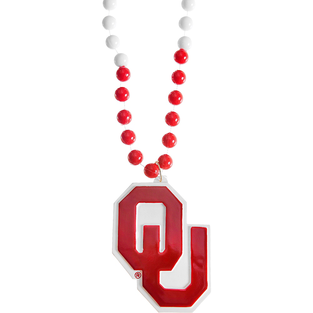 Nav Item for Oklahoma Sooners Pendant Bead Necklace Image #1